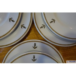 6 ASSIETTES PLATES OFFICIERS MARINE NATIONALE